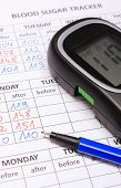 stock photo of measurements  - Glucose meter and blue pen lying on medical forms for measurement sugar in blood results of measurement of sugar concept for measuring sugar level - JPG