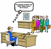 image of lawyer  - Legal cartoon showing a lawyer at his desk with a bowling ball and opposing counsel walking in - JPG