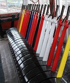 stock photo of levers  - The Signal Levers of a Traditional Railway Signal Box - JPG