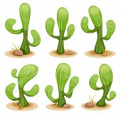 image of dry grass  - Illustration of a funny set of comic mexican desert cactus plants with some rocks and dry leaves of grass - JPG