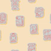 foto of glyphs  - Seamless background with Maya calendar named months and associated glyphs for your design - JPG