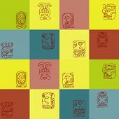picture of glyphs  - Seamless background with Maya calendar named months and associated glyphs for your design - JPG
