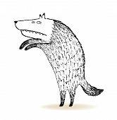 picture of werewolf  - Isolated hand drawn ink werewolf vector illustration - JPG