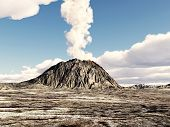 image of volcanic  - Computer generated 3D illustration with an volcanic eruption - JPG
