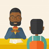 stock photo of interview  - A smiling black human resource manager interviewed the applicant with his curriculum vitae for the job vacancy - JPG