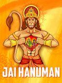 stock photo of sita  - illustration of Lord Hanuman on abstract background - JPG