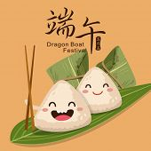 pic of boat  - Vector chinese rice dumplings cartoon character illustration - JPG