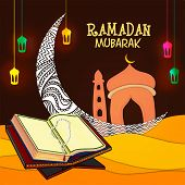 stock photo of rosary  - Open Islamic religious book Quran Shareef with rosary in front of floral crescent moon and mosque on colorful lanterns decorated background - JPG