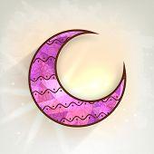 pic of eid mubarak  - Pink stylish crescent moon on shiny background for muslim community festival - JPG