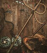 image of fishing bobber  - Fishing tools and pike - JPG