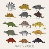 image of ankylosaurus  - Set of Armoured dinosaurs eps10 vector format - JPG