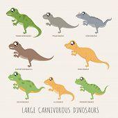 pic of dilophosaurus  - Set of Large carnivorous dinosaurs eps10 vector format - JPG