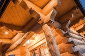picture of log cabin  - Illuminated Log Cabin Closeup - JPG