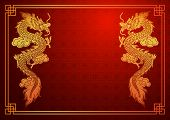 picture of dragon  - Chinese traditional template with chinese dragon on red Background - JPG