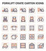pic of forklift  - Forklift carton and crate icons sets on white background - JPG