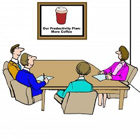 foto of productivity  - Business cartoon of meeting and a chart that states - JPG