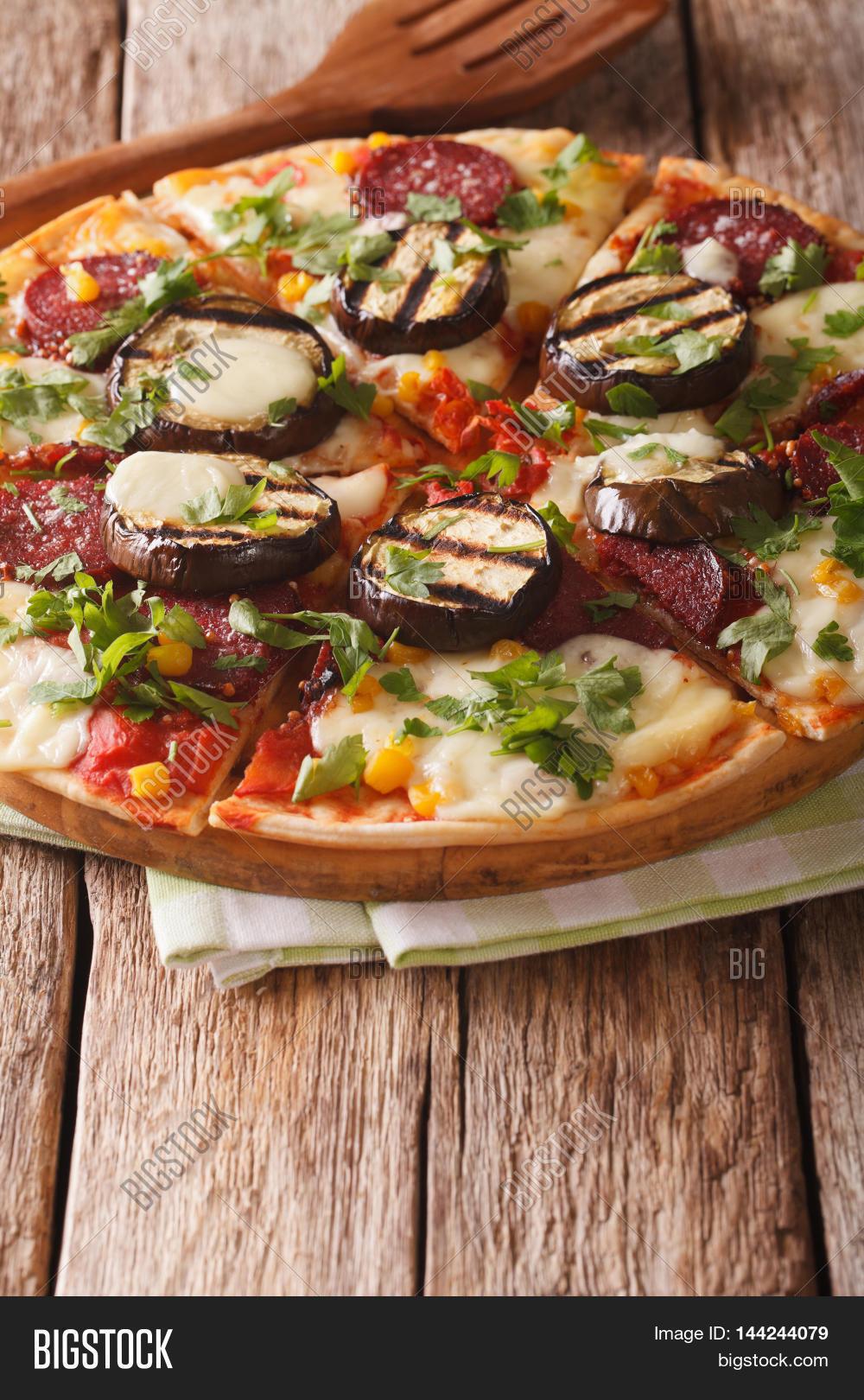 Pizza Grilled Eggplant, Sausage, Image & Photo | Bigstock