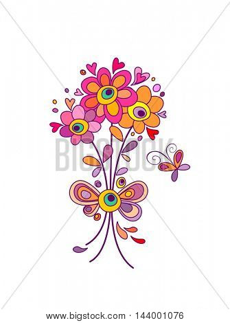 Funny greeting bouquet with abstract colorful flowers