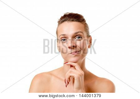 Cute Thoughtful Woman Pulling A Funny Face