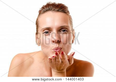 Romantic Woman Blowing A Kiss At The Camera