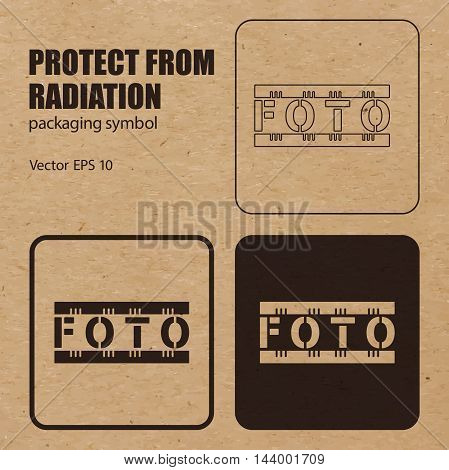 Protect from Radiation vector packaging symbol on vector cardboard background. Handling mark on craft paper background. Can be used on a box or packaging. Vector EPS 10.