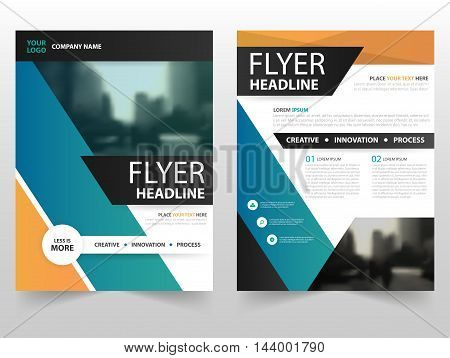 Orange green business Brochure Leaflet Flyer annual report template design book cover layout design abstract business presentation template a4 size design
