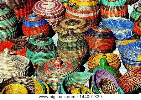 New York City - October 8 2006: Colourful baskets on display at an Amsterdam Avenue street festival on Manhattan's Upper West Side