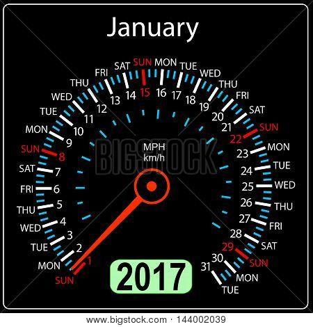 year 2017 calendar speedometer car in vector. January.