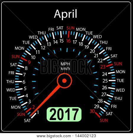 year 2017 calendar speedometer car in vector. April.