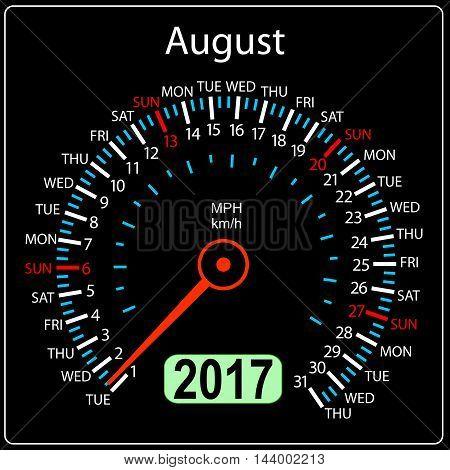 year 2017 calendar speedometer car in vector. August.
