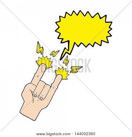freehand drawn comic book speech bubble cartoon hand making rock symbol