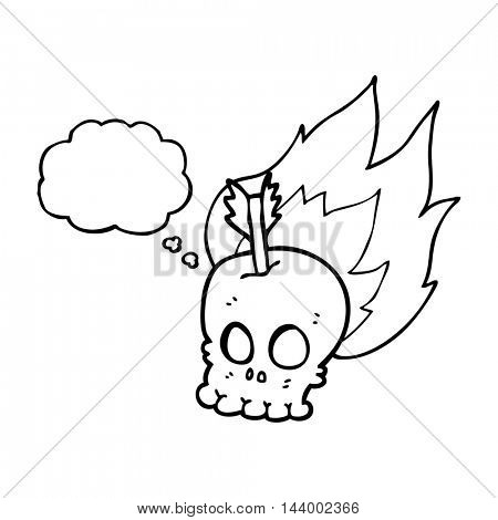 freehand drawn thought bubble cartoon skull with arrow
