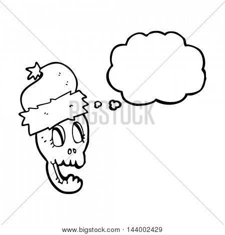 freehand drawn thought bubble cartoon christmas hat on skull