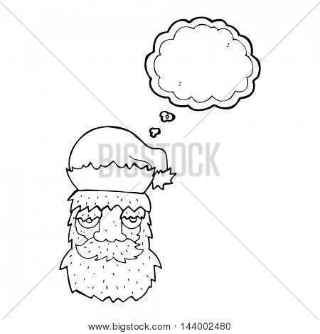 freehand drawn thought bubble cartoon tired santa claus face