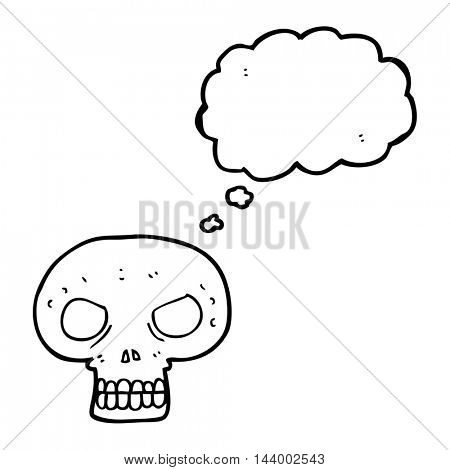 freehand drawn thought bubble cartoon skull