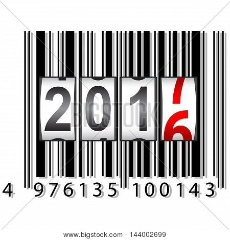 The New Year counter 2017, barcode vector illustration.