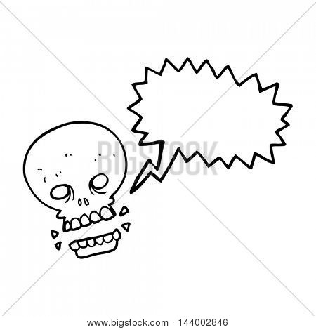 freehand drawn speech bubble cartoon scary skull