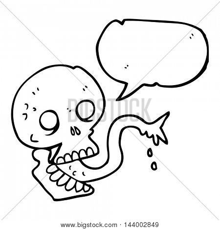 freehand drawn speech bubble cartoon spooky halloween skull