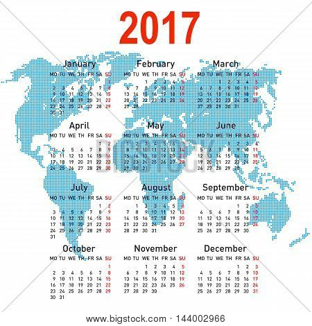 calendar 2017 with world map. Week starts on Monday