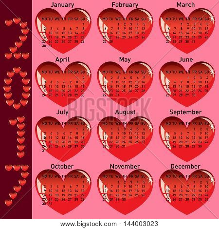 Stylish calendar with red hearts for 2017. Week starts on Monday.