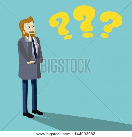 Thinking man illustration with three question symbols