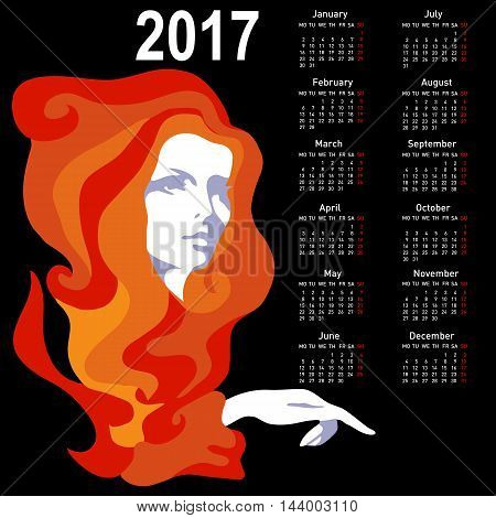 Stylish calendar with woman for 2017. Week starts on Monday.