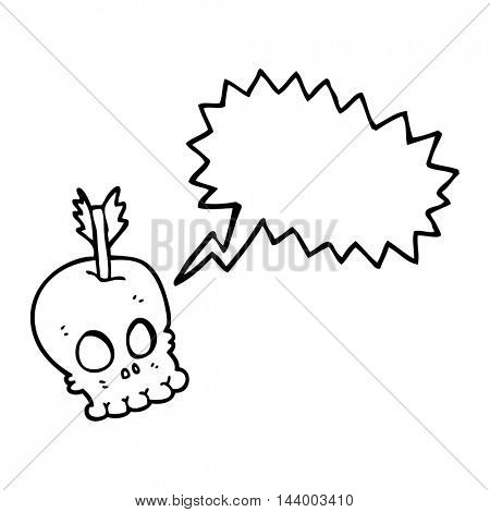 freehand drawn speech bubble cartoon skull with arrow