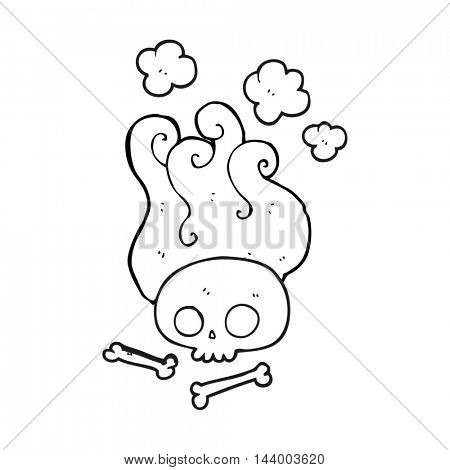 freehand drawn black and white cartoon skull and bones
