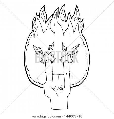freehand drawn black and white cartoon hand making rock symbol