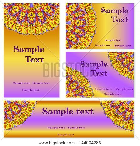 Business templates set. Business cards invitations and banners. Mandala pattern and ornaments. Happy design pattern. Arabic India Islam Aisa.