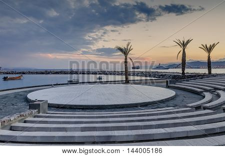 Central beach with a marine lagoon in Eilat - famous resort city in Israel