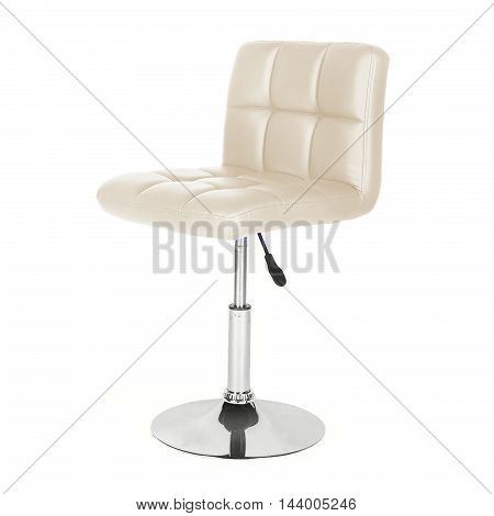 Leather and chrome bar stool isolated on white