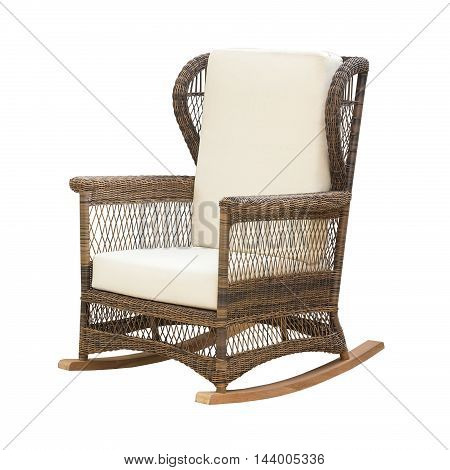 wicker rocking chair isolated on a white