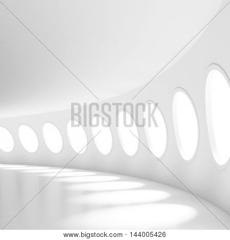 White Futuristic Tunnel. Hall with Windows Abstract Architecture Background. 3d Rendering of Minimal Geometric Design